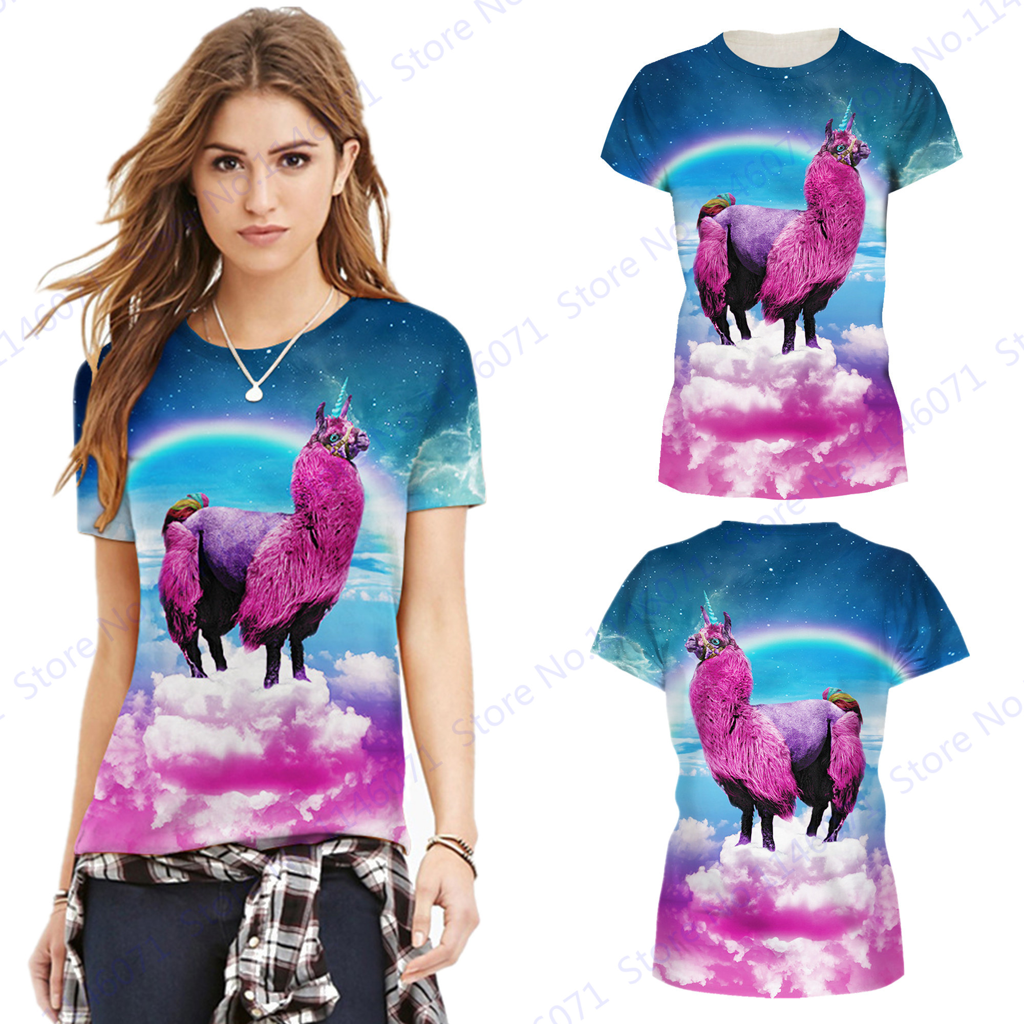 Rose Red Alpaca Women Athletic Running T-shirts Rainbow Sheep Sports Fitness Shirt O-Neck Short Sleeve Training Gym Tops Blouses