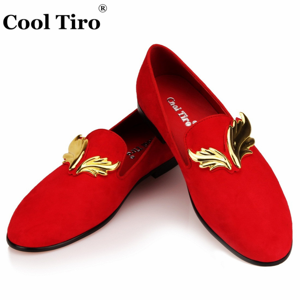 Cool Tiro Red Suede Mens Loafers Gold