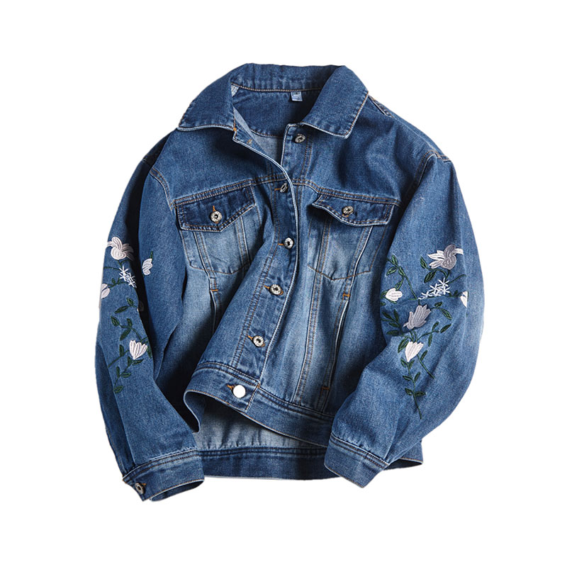 Brodé Jeans Automne Jean Manteau vent Veste Femmes De Cardigan Survêtement Bleu En Coupe D'hiver Femme Lâche 2018 Fleur Mode pCqvx0pw