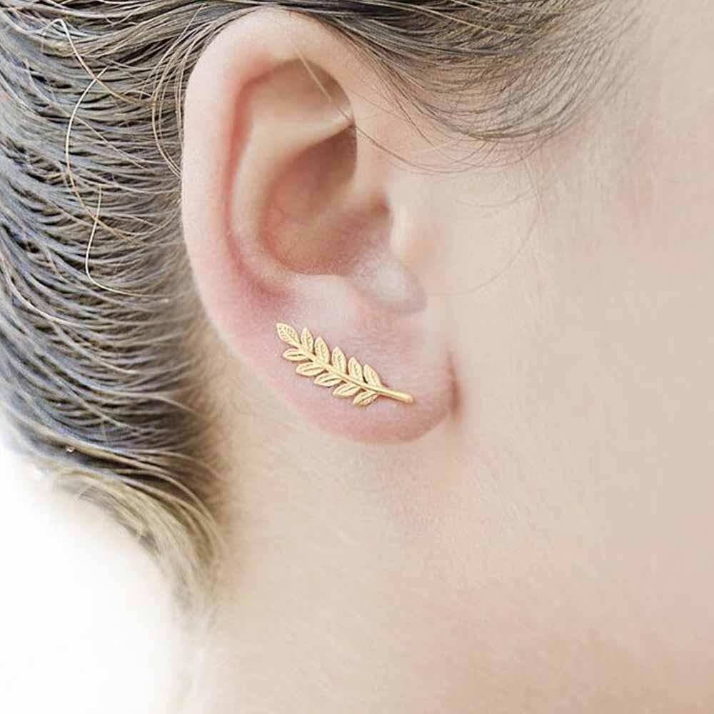 KISSWIFE 2018 New Vintage Leaves Earrings for women Beautiful tree leave Earrings or like Feather Earrings Ear clip