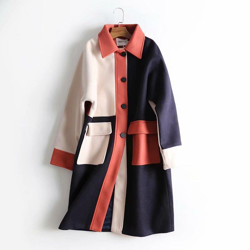 Double Printemps Arrivée Gratuite Qualité Couleur Multi 2019 Long D'hiver Femmes Poches Mode Et À Nouvelle Manteau Laine Livraison Coréenne De Correspondant OqdABw