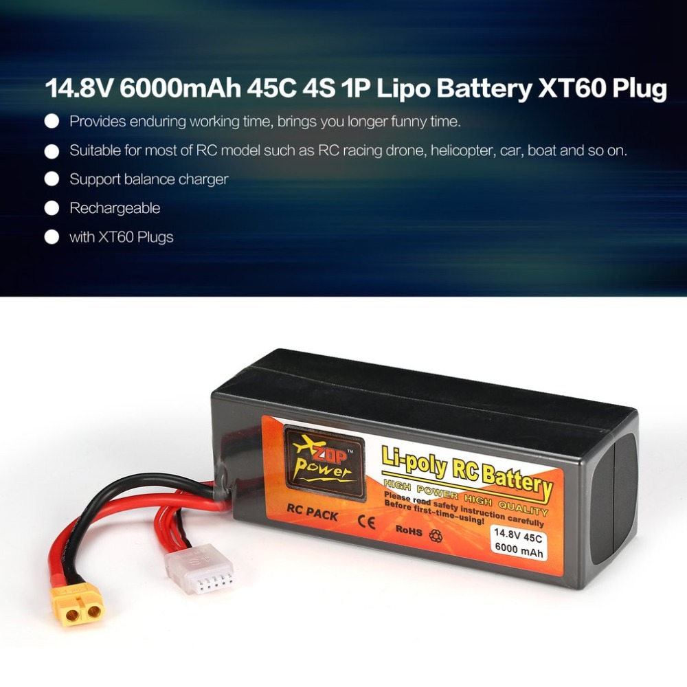 ZOP Power 14.8V 6000mAh 45C 4S 1P Lipo Battery XT60 Plug Rechargeable for RC Racing Drone Quadcopter Helicopter Car Boat Model 2pcs hot new zop power 18 5v 1500mah 5s 45c lipo battery xt60 t plug rechargeable lipo battery rc helicopter for rc helicopter