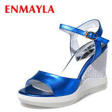 цена на ENMAYLA Open Toe Wedges Platform Sandals Women High Heels Blue Red Shoes Woman Summer Dress Shoes Open Toe Strappy Sandals
