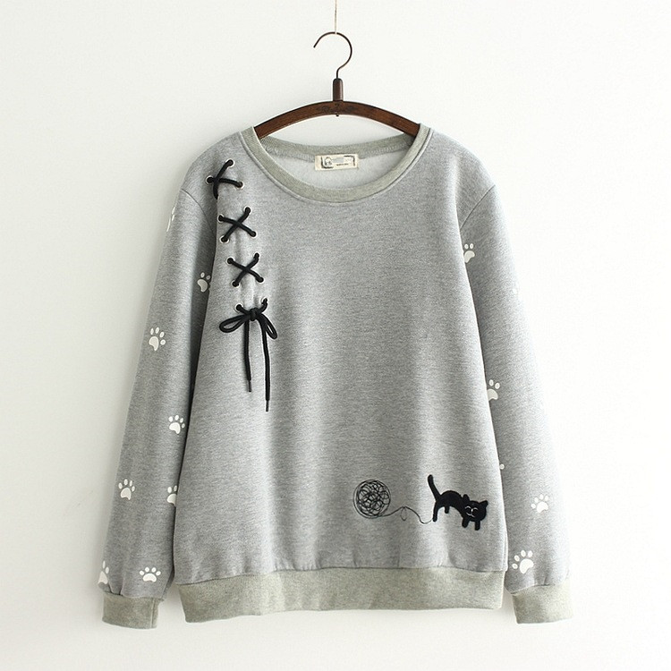 kaifongfu Womens Cute Cat Sweatshirts Loose Casual Long Sleeve Letter Printed Pullover Blouse Top