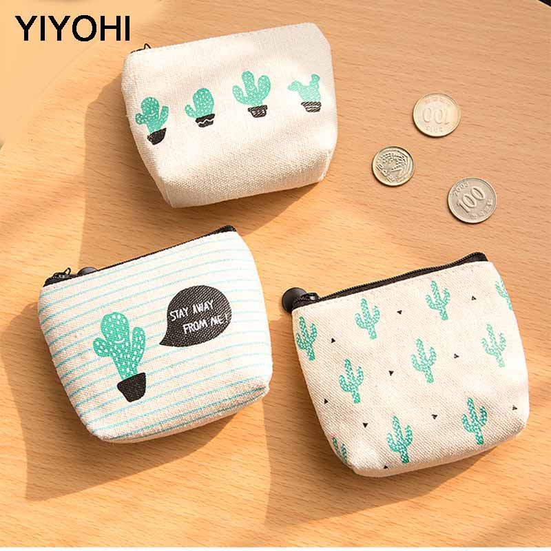 YIYOHI Canvas Simple Cactus Cute Style Beautiful Grils Zipper Plush Square Coin Bag Purse Kawaii Children Bag Women Mini Wallets купить