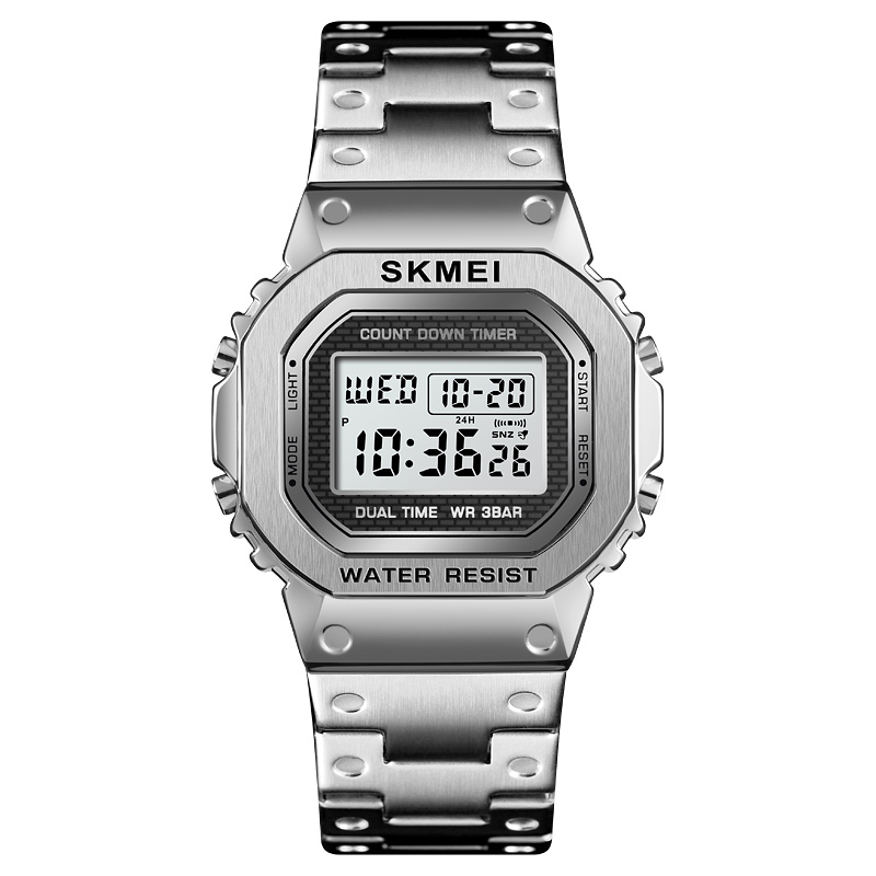 <font><b>SKMEI</b></font> Sports Watches Mens G Shock Fashion LED Digital Wristwatches Waterproof Watch Chronograph Stainless Steel Male Clock <font><b>1456</b></font> image