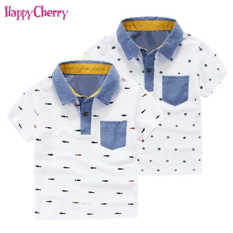 2e05eb1ce Summer Boys School Uniform Polo Shirts for 3-7 Year Stylish Children  Printing Cotton Tops Tee Boys Short Sleeve Pique Polo Shirt