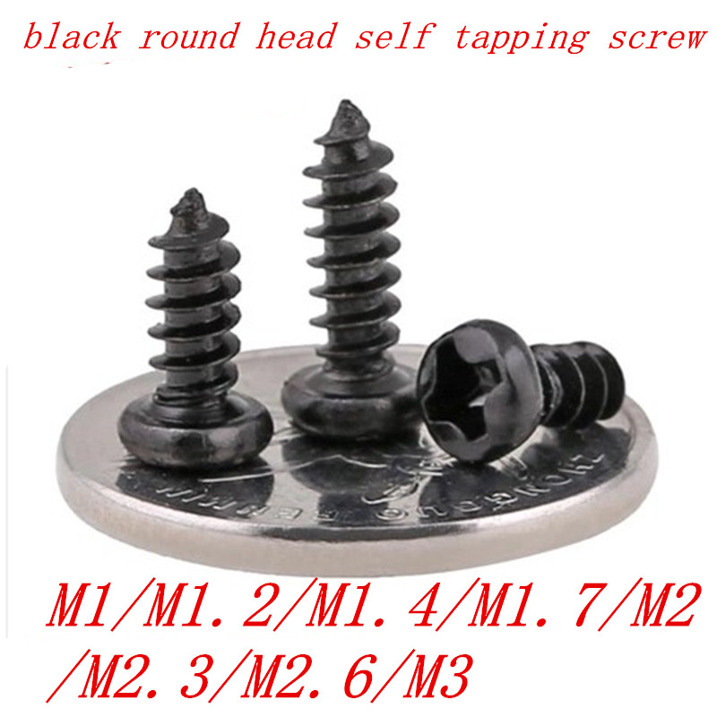 1000pcs Self Tapping Screws Pan Head Black M1 M1.2 M1.4 M1.7 M2 M2.3 M2.6 M3 Laptop Screws Computer Screws Small Philips self tapping screws countersunk head flat computer screws m1 m1 2 m1 4 m1 7 m2 m2 3 m2 6 small philips black steel pack 1000