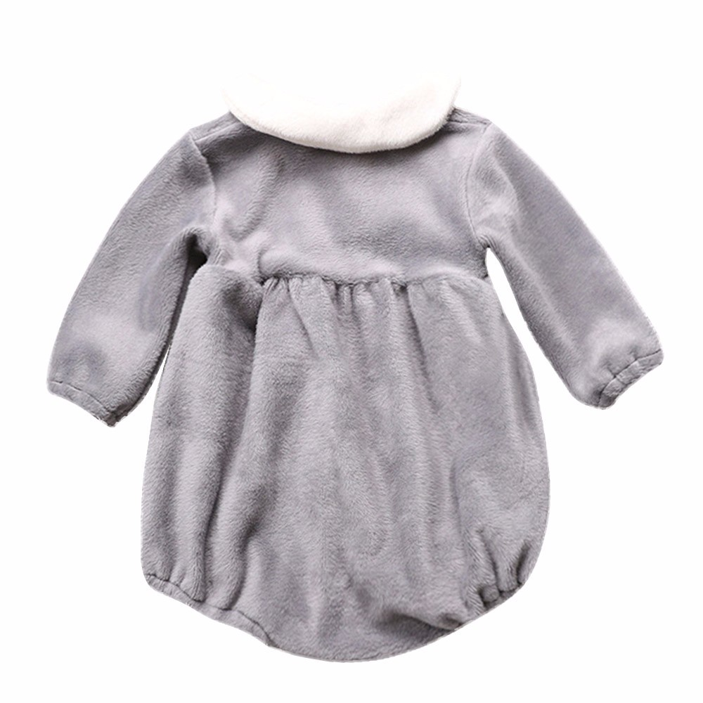 af57bc632 Flannel Solid Bodysuit Newborn Kid Baby Girl Plush Peter Pan Collar Long  sleeve Clothes Bodysuit Jumpsuit Warm Winter-in Bodysuits from Mother & Kids  on ...