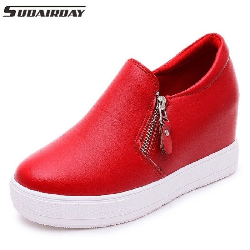 Women Fashion Shoes Height Increasing Women Elevator Shoes Zipper Side Platform Shoes Wome Black Red White
