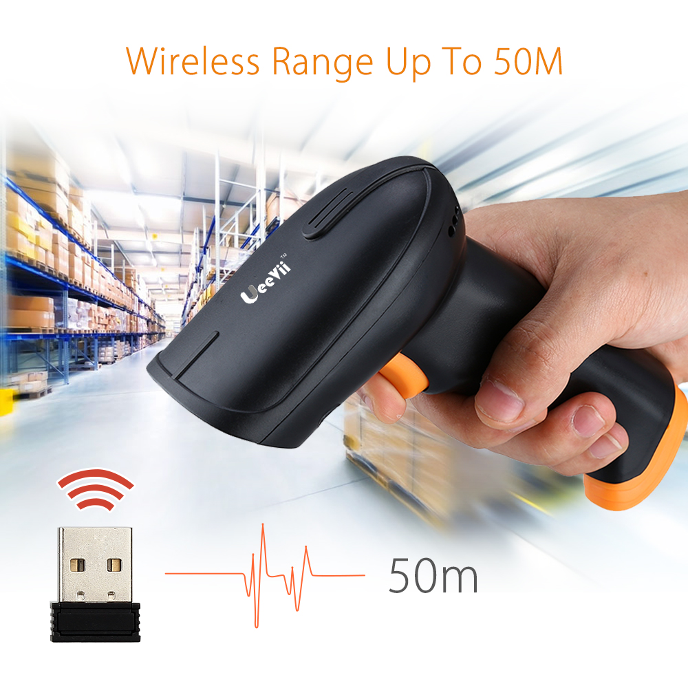 UEEVII S2 2 in 1 USB Wired & Wireless Barcode Scanner 1D 2.4GHz W/2000mAh Battery 1D Wireless Bar Code Scanner Reader Portable