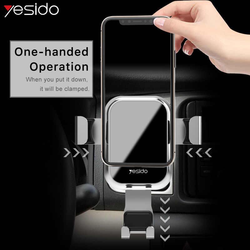 Yesido c46 luxo vidro temperado gravidade titular do telefone do carro de ventilação ar suporte de montagem para o iphone x xs samsung s10 carro móvel suporte