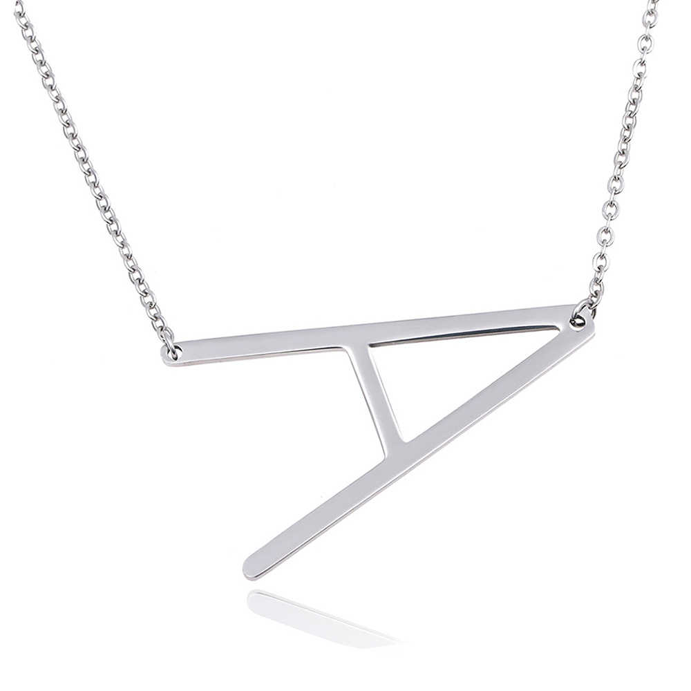 SKQIR Personalized Letter Pendant Necklace Gold Silver Stainless Steel Chain Custom Name Necklaces Initial Charm Jewelry Hot