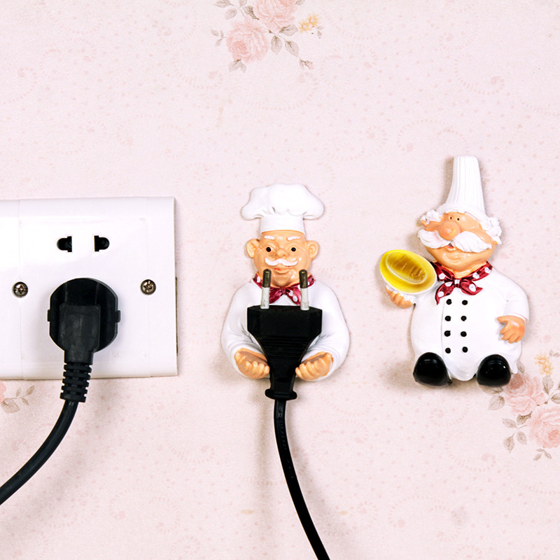 2pcs/lot Cute Self Adhesive Wall Plug Holder 1