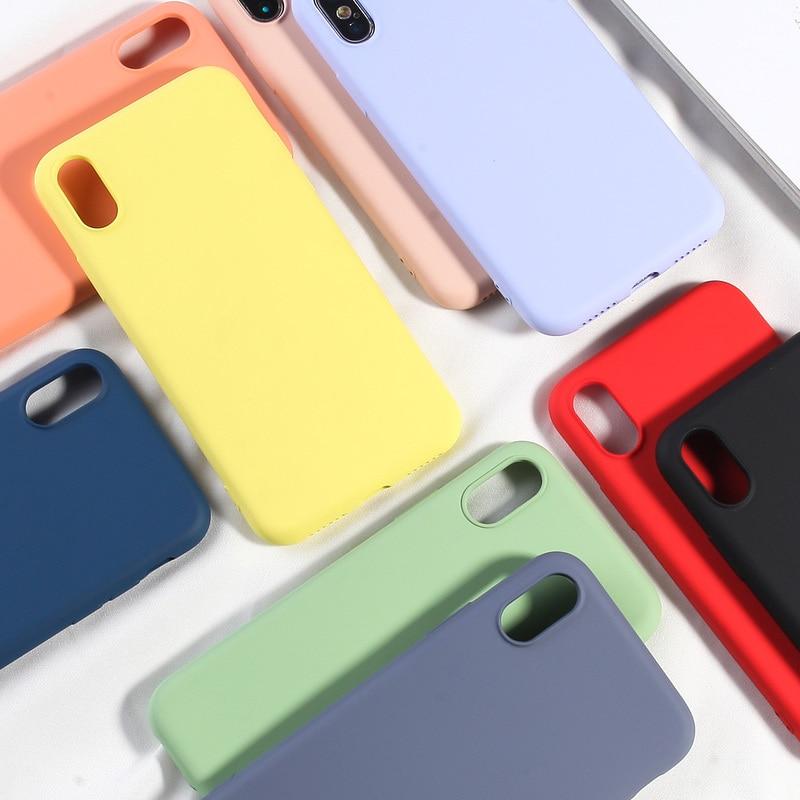Simples Doce Cor Caixa Do Telefone Para o iphone XS MAX X XR 7 8  Mais Suave Silicone TPU Tampa Traseira Para iPhone 6 6 s Mais NOVA Moda  CapaEstojos encaixados