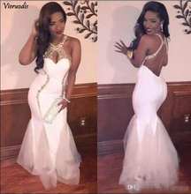 2019 Sexy Back White And Gold Mermaid Prom Dresses Elegant Halter Tulle Sleeveless Charming Evening Popular Party Dresse