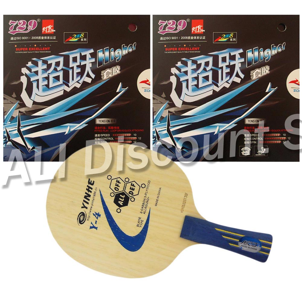 Pro Table Tennis (PingPong) Raket Combo: Galaxy YINHE Y-4 Blade dengan 2x RITC729 Higher Rubbers Long Shakehand FL