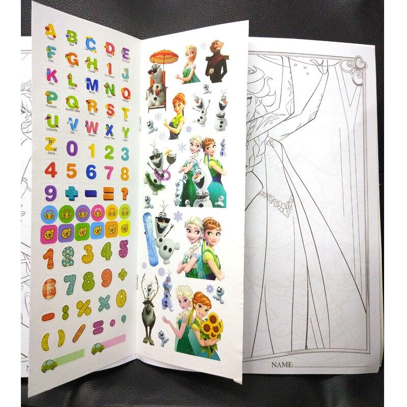 16 Sayfa Kar Prenses Kız Boyama Kitap çıkartması Kitap çocuk