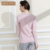 Qianxiu Marca Pijamas desgaste Del O-cuello de Rayas de Algodón ropa de Noche salón de manga Larga Conjunto Pijama de Las Mujeres