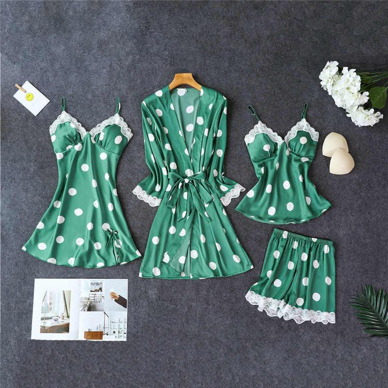 La Navidad, Ginebra, chocolate, vino, si puede leer esto traer vino de Nan, mamá, 4 PC correa superior pantalones traje de pijamas ropa de dormir conjuntos de ropa de casa ropa de dormir Sexy Kimono traje vestido de baño bata de baño