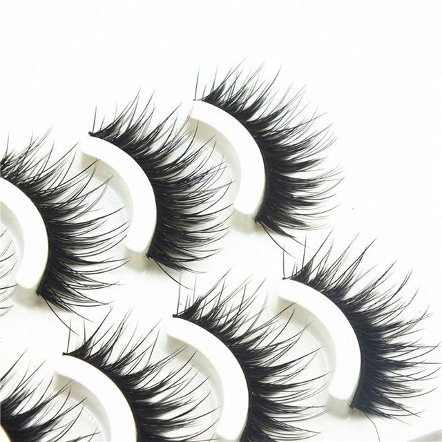 5 Pairs Natural Sparse Cross Fake Eye Lashes Extension Makeup Long False Eyelashes Tools False Eyelashes