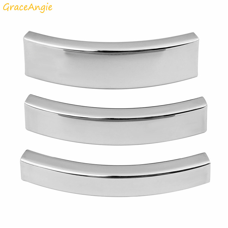 GraceAngie 5pcs/pack Stainless Steel Cord Buckle Connector Necklace Jewelry Accessories Curved Elbow Sleeve Connecting Tube