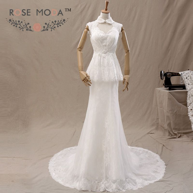 High Collar Lace Peplum Sheath Wedding Dress Keyhole Neck and Back Lace Up Back Bridal Gown Vestidos de Noiva Real Photos