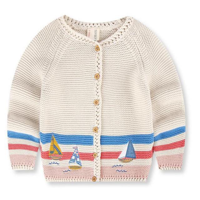 Desinger 2-7y Niños Niñas Suéter Cardigan de Punto Con Bordados Niños Barco de Algodón Prendas de Punto Para El Otoño Invierno