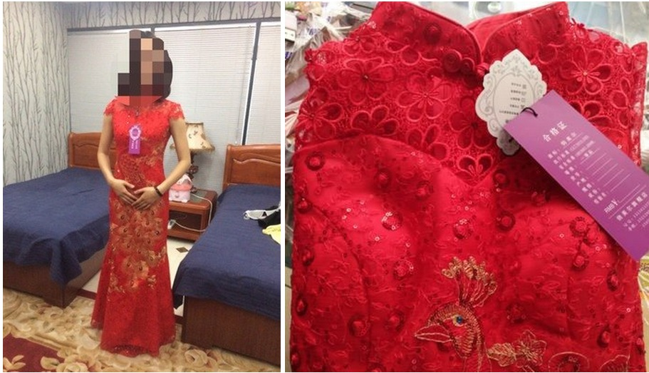 chine tradition phénix broderie rouge dentelle sequin cheongsam - Vêtements nationaux - Photo 6