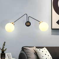 Modern 2 Balls Parlor Led Wall Lamps Fixtures Rotatable Bedroom Restaurant Aisle Study Wall Lights Sconce Nordic Art Indoor Lamp