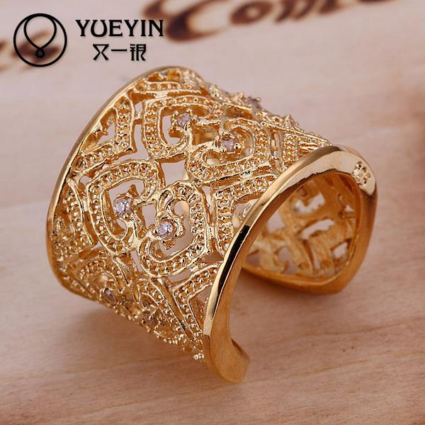 R107 yellow gold color ring inlaid stones heart shape big ring for