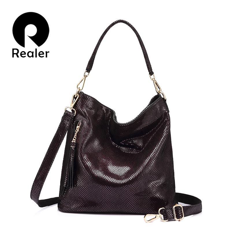 Realer brand women bag genuine leather handbag ladies crossbody bags high quality Totes fashion zipper Messenger bags female new spring new elegant leather women handbag smooth skin lady shoulder bags female small casual totes cover zipper crossbody packs