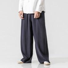Men Elastic Waist Straight Causal Pants Plus Size M-5XL Solid Cotton Linen  Loose Harem Trousers Male Wide Leg Pant b1264e5d3478