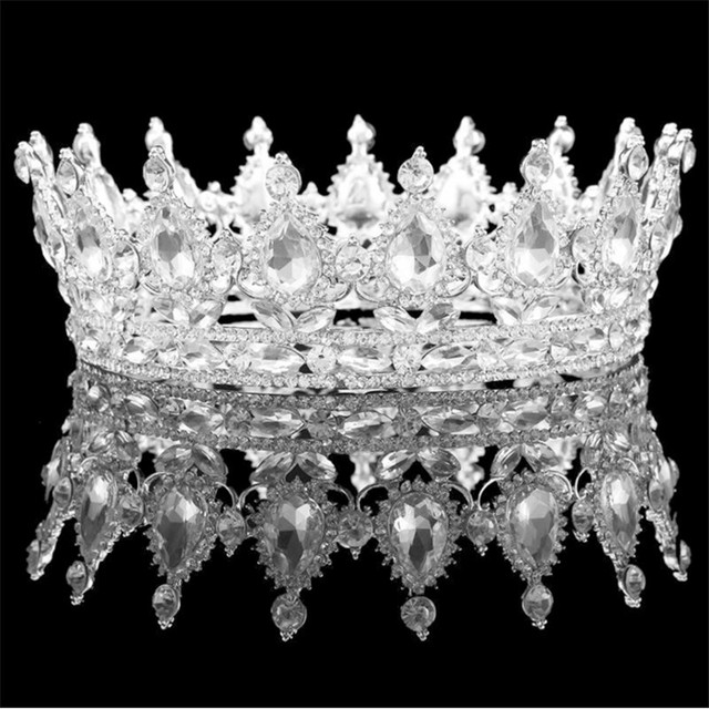 Vintage Baroque Queen King Bride Tiara Crown For Women Headdress Prom Bridal Wedding Tiaras and Crowns Hair Jewelry Accessories 4