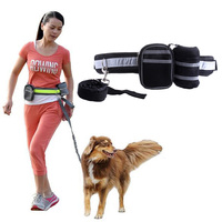 1Set Adjustable Hands Free Dog Lead Walk Running Jogging Waist Belt Elastic Leash Bag Running Traction