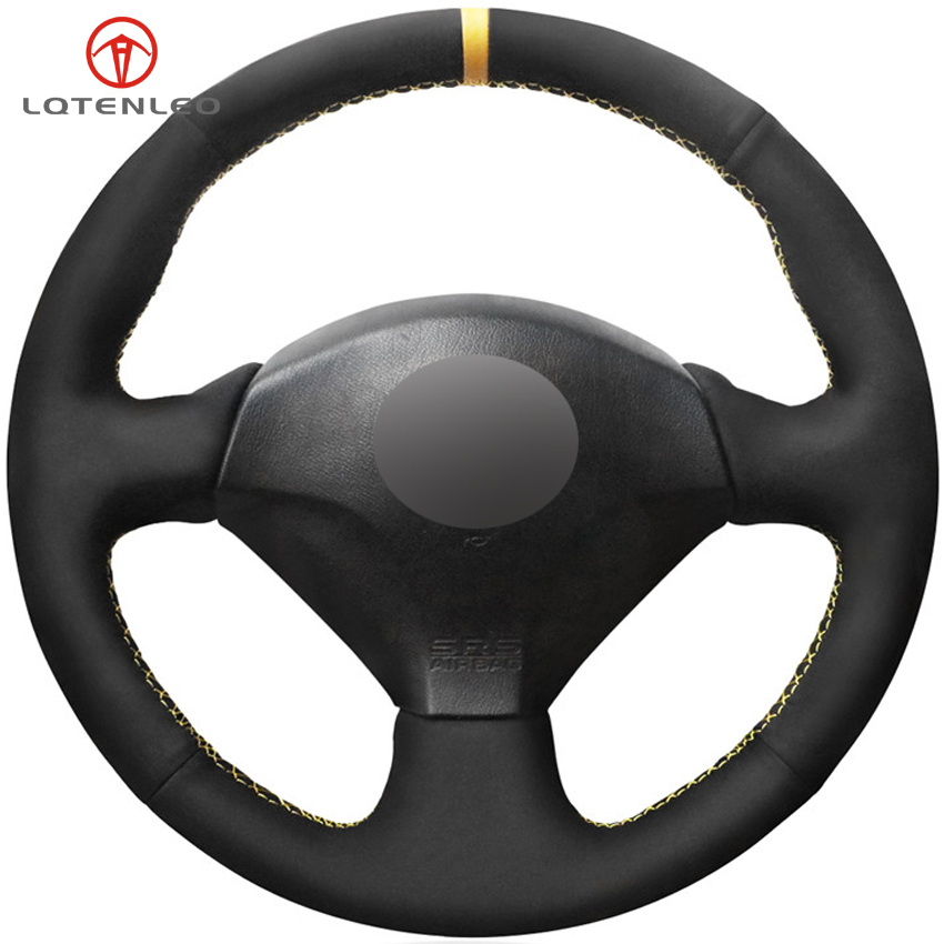 LQTENLEO Black Suede DIY Car Steering Wheel Cover For