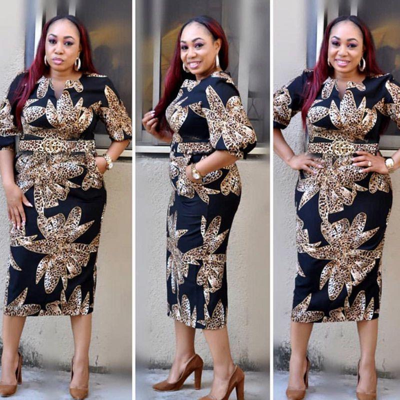 2019 Dashiki African Lady Dress Sale Plus Size Bazin Riche Vestido Women Dress Africa Summer Print Dresses Femme Large Size