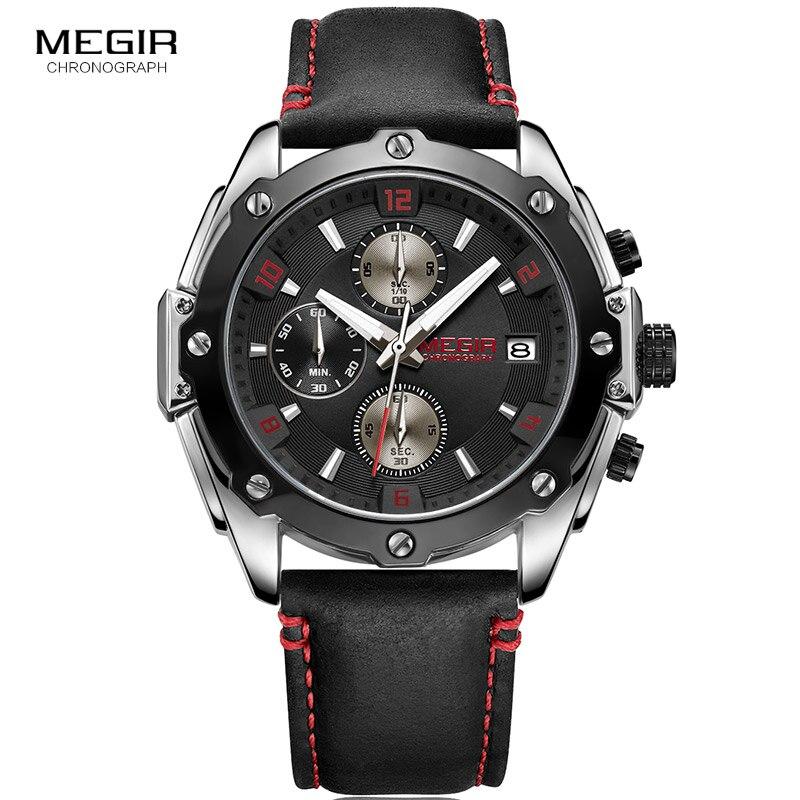 MEGIR Men's Chronograph Quartz Watches Fashion Black Leather Strap Luminous Analogue Sports Wrist Watch for Man 2074GS BK 1N8 Quartz Watches     - title=