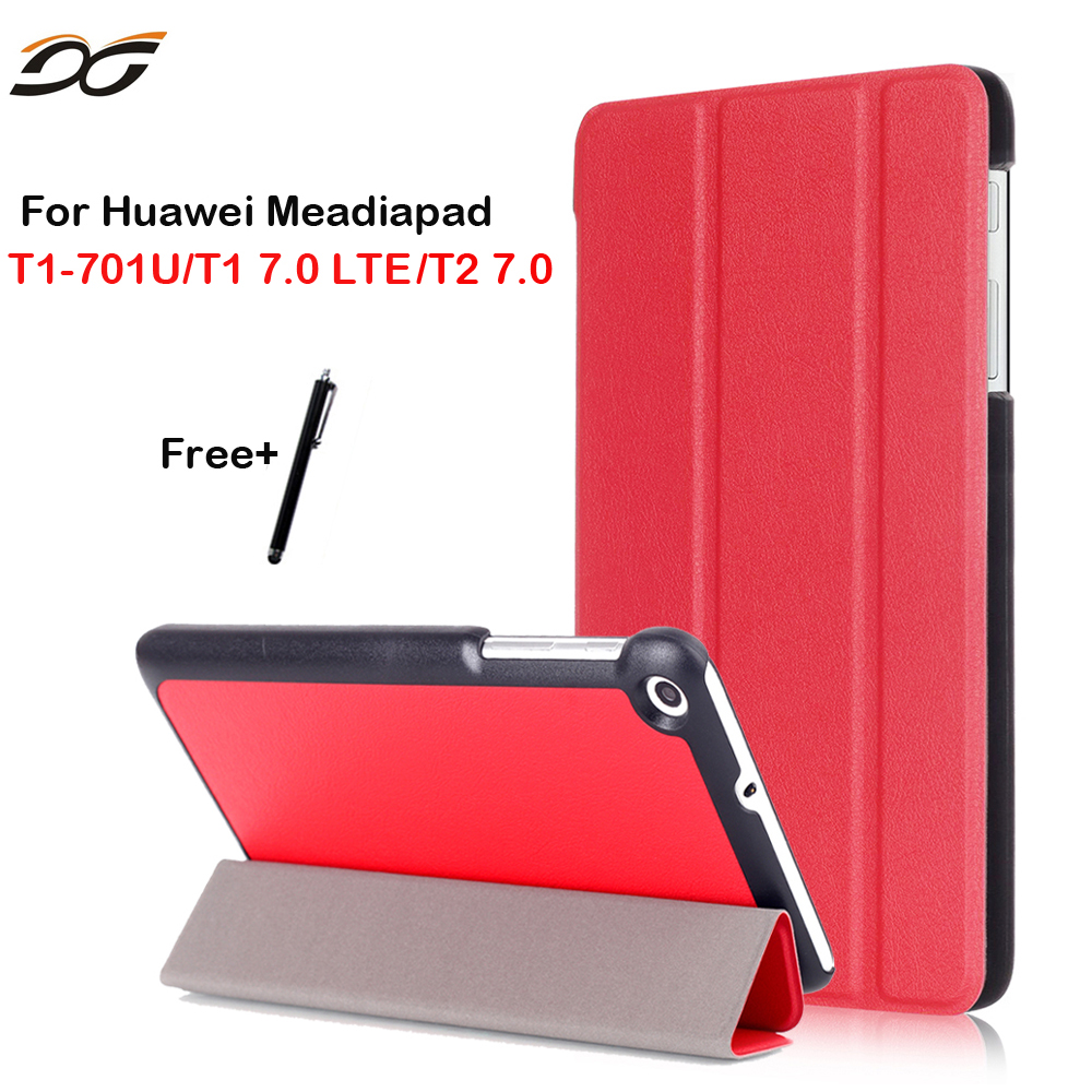 Case For Huawei Mediapad T1 7.0 T2 7.0 T1-701W T1-701U Tri-fold Tablet Cover Case For Huawei Mediapad T1 7.0 701/ 701U Tablet