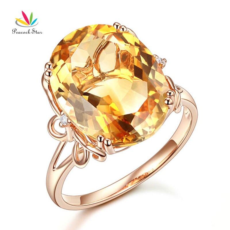 Bague d'anniversaire de luxe en or Rose 14 K étoile de paon 8.2 Ct diamant ovale jaune Citrine