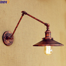 IWHD Loft Retro Wall Lamp LED Edison Sconce Wandlamp Swing Long Arm Vintage Wall Light Sconce Lampara Pared Industrial Lighting iwhd swing long arm wall light up down vintage glass wall lamp led bedroom iron wandlamp home lighting edison bulb light