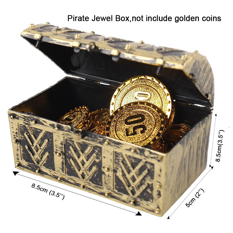 Children Pirate Jewelry Box Plastic Storage Case Halloween Costume Vintage Accessory Fancy Props Treasure Chest Gift For Kids