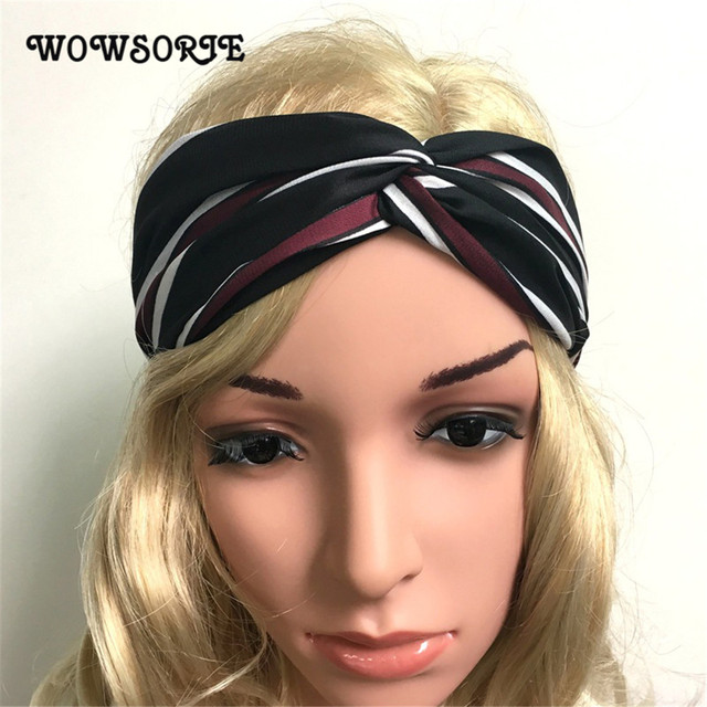 Stripe Women Bandanas 2018 New Cross Ribbon Printing Ladies Headwear Fashion  Headbands Accessories Knot Headwrap Turban Bandanas ce59464b0ca