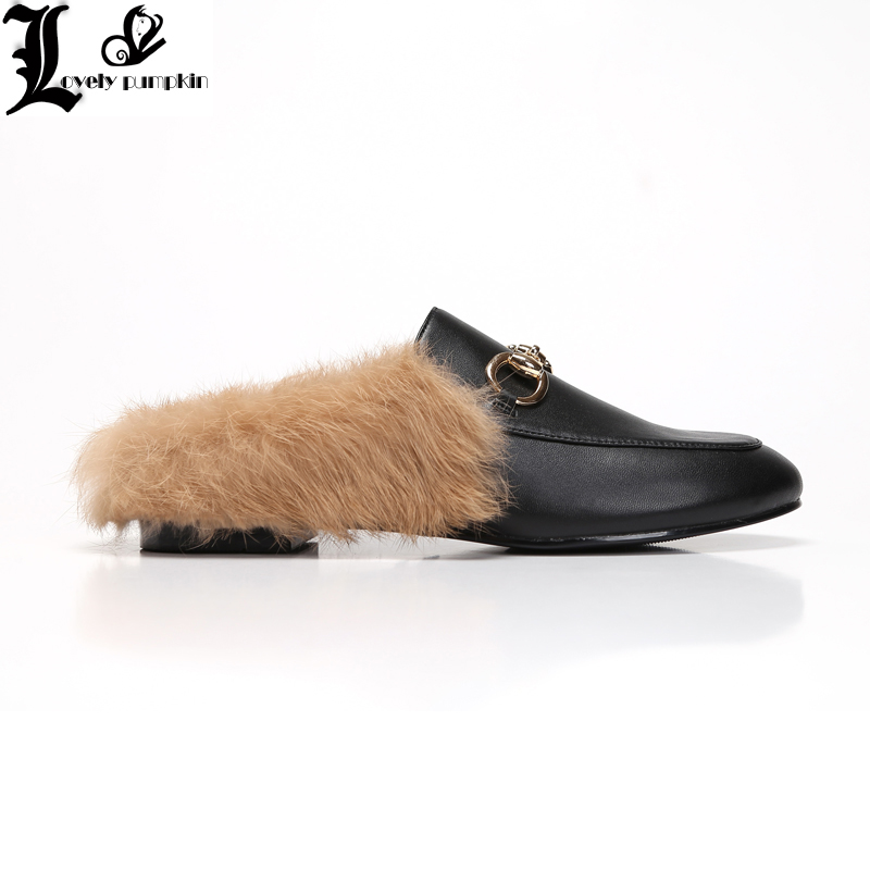 цена на Brand Designer Black Blue Red Corduroy Metal Chain Rabbit Hair Woman Fur Slides Slip On Loafers Mules Flip Flops35-42 LP015