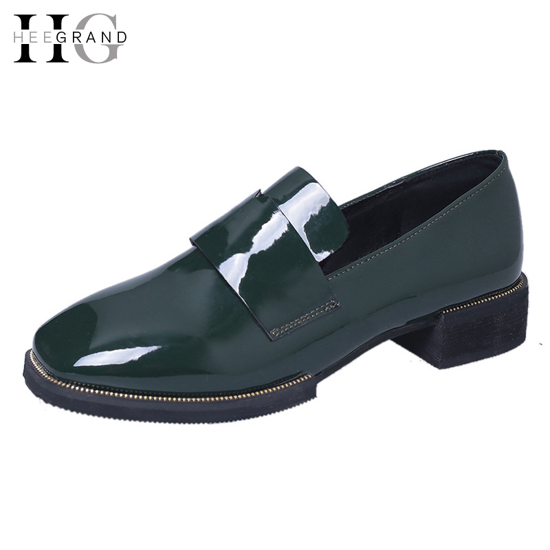 HEE GRAND Slip On Oxfords Shoes Woman 2017 Platform pring Casual Shoes Low Heels Women Brogue Shoes 2 Colors XWD5318 fashion patent leather oxfords shoes woman 2016 casual platform flats low heels silver women brogue shoes 2 wearing xwd3170