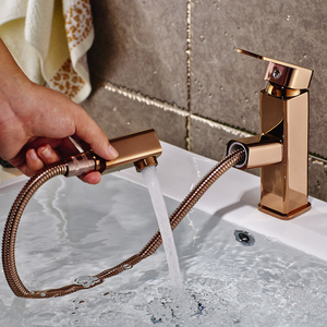 Pull Out Basin Mixer Tap 360 Degree Rotate Type Basin Faucet Rose Gold Chrome Bathroom Faucets Single Hand Bathroom(China)
