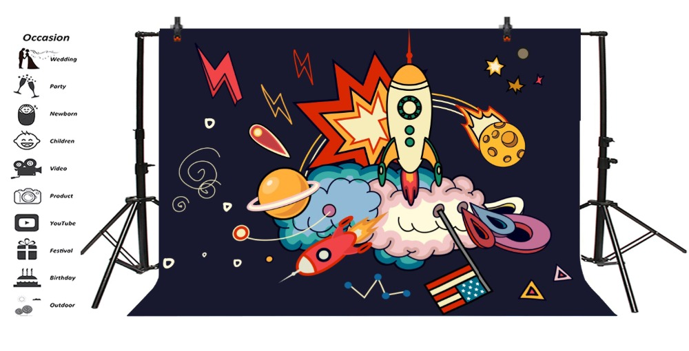 Laeacco Baby Party Comics Cartoon Spaceship Rocket Photography Backgrounds Customized Photographic Backdrops For Photo Studio in Background from Consumer Electronics