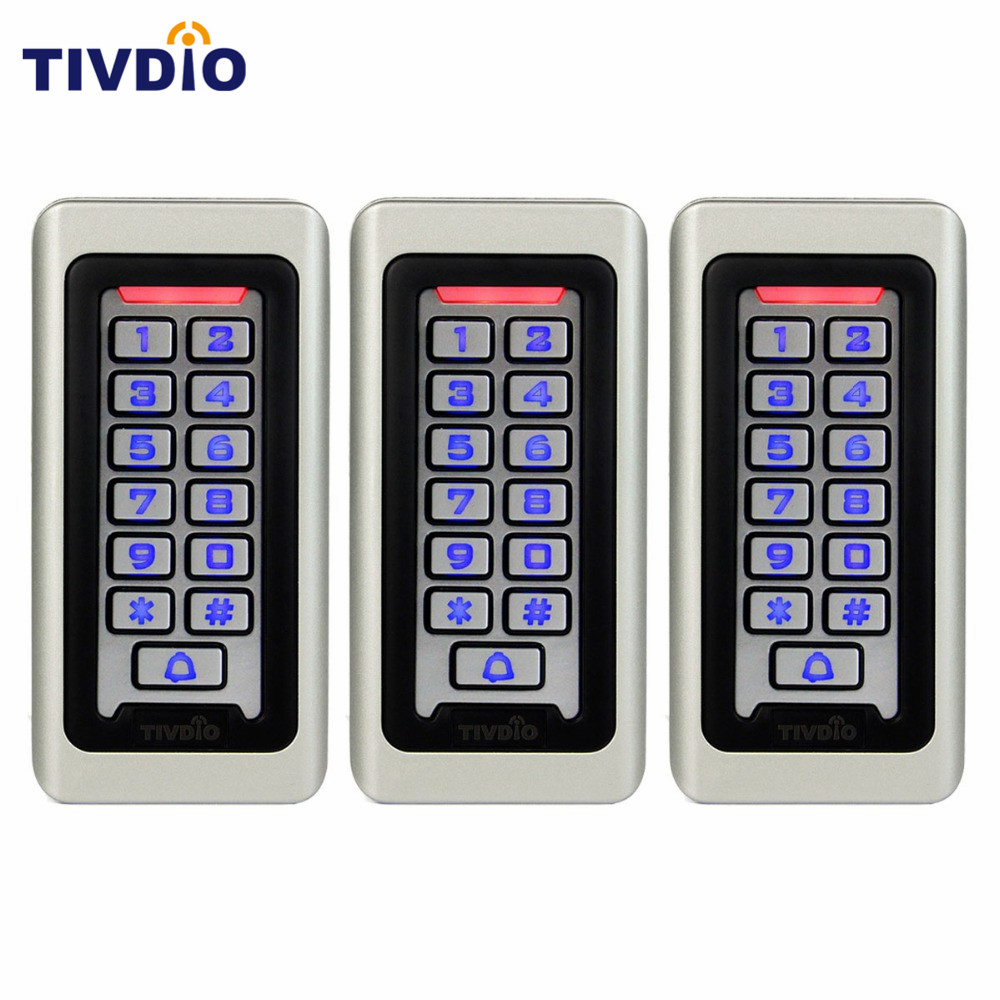 3 pcs TIVDIO For RFID Access Control 125KHz Proximity Card Standalone Access Control With 2000 Users For Outdoor & Indoor F9501D metal rfid em card reader ip68 waterproof metal standalone door lock access control system with keypad 2000 card users capacity