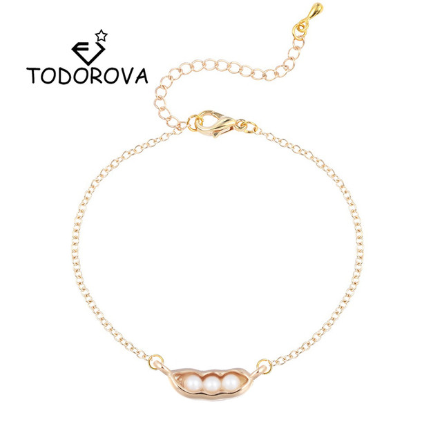 Todorova Handmade Pea Peanut Charm Bracelets & Bangles Simulated Pearl Women Bracelet Wedding Jewelry Men Accessories