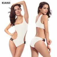 Women's Solid One Shoulder Large Size Swimsuit Waist Unique Plastic Buckle One piece Swimsuit Summer Quick Dry Elastic Beachwear